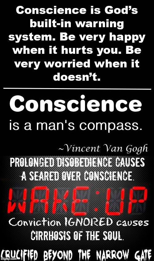 Seared Conscience | image tagged in seared conscience,man's compass,cirrhosis of the soul,narrow gate | made w/ Imgflip meme maker