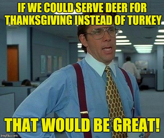 There's more deer out there than turkey's! :) | IF WE COULD SERVE DEER FOR THANKSGIVING INSTEAD OF TURKEY THAT WOULD BE GREAT! | image tagged in memes,that would be great | made w/ Imgflip meme maker