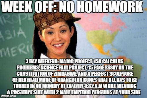 So True | WEEK OFF: NO HOMEWORK 3 DAY WEEKEND: MAJOR PROJECT, 150 CALCULUS PROBLEMS, SCIENCE FAIR PROJECT, 15 PAGE ESSAY ON THE CONSTITUTION OF ZIMBAB | image tagged in memes,unhelpful high school teacher,scumbag,funny,homework | made w/ Imgflip meme maker