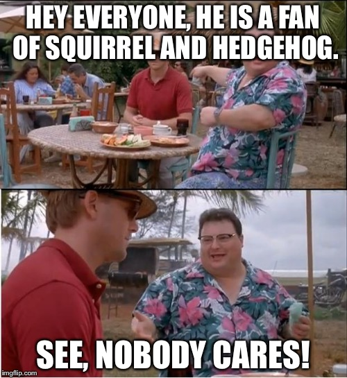 See Nobody Cares Meme | HEY EVERYONE, HE IS A FAN OF SQUIRREL AND HEDGEHOG. SEE, NOBODY CARES! | image tagged in memes,see nobody cares | made w/ Imgflip meme maker