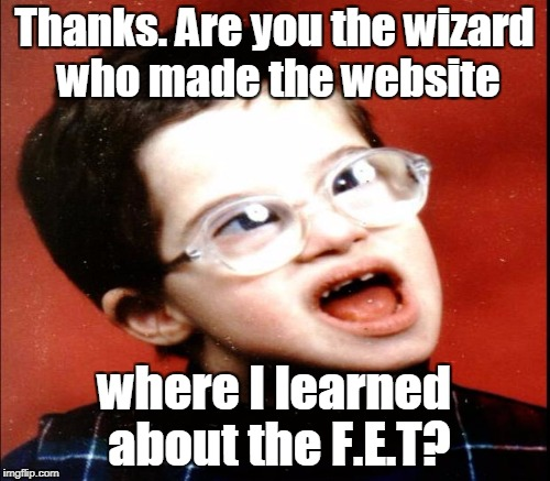 Thanks. Are you the wizard who made the website where I learned about the F.E.T? | made w/ Imgflip meme maker
