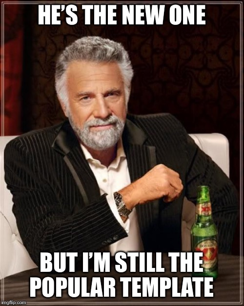 The Most Interesting Man In The World Meme | HE'S THE NEW ONE BUT I'M STILL THE POPULAR TEMPLATE | image tagged in memes,the most interesting man in the world | made w/ Imgflip meme maker