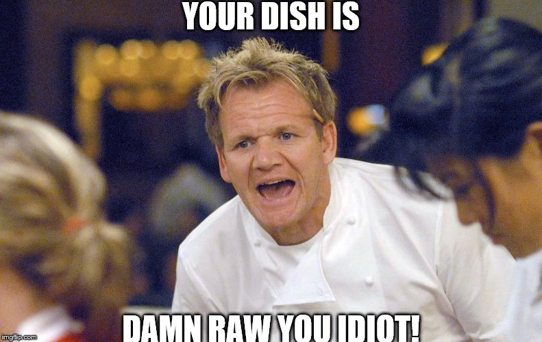 YOUR DISH IS DAMN RAW YOU IDIOT! | image tagged in gordon ramsay yelling | made w/ Imgflip meme maker