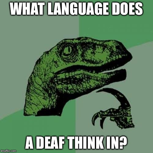 Philosoraptor Meme | WHAT LANGUAGE DOES A DEAF THINK IN? | image tagged in memes,philosoraptor | made w/ Imgflip meme maker