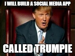 Donald Trump | I WILL BUILD A SOCIAL MEDIA APP CALLED TRUMPIE | image tagged in donald trump | made w/ Imgflip meme maker