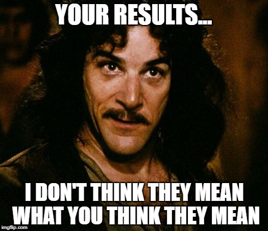 Inigo Montoya Meme | YOUR RESULTS... I DON'T THINK THEY MEAN WHAT YOU THINK THEY MEAN | image tagged in memes,inigo montoya | made w/ Imgflip meme maker