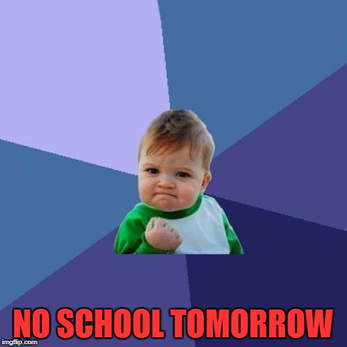Success Kid Meme | NO SCHOOL TOMORROW | image tagged in memes,success kid | made w/ Imgflip meme maker