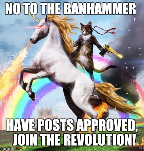 Welcome To The Internets Meme | NO TO THE BANHAMMER HAVE POSTS APPROVED,  JOIN THE REVOLUTION! | image tagged in memes,welcome to the internets | made w/ Imgflip meme maker