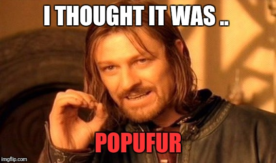One Does Not Simply Meme | I THOUGHT IT WAS .. POPUFUR | image tagged in memes,one does not simply | made w/ Imgflip meme maker