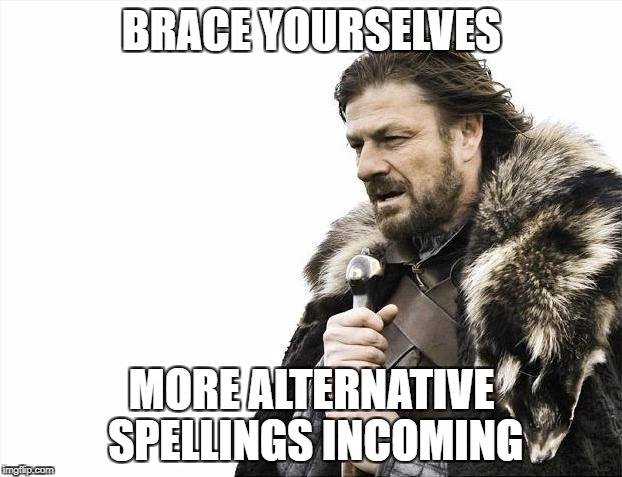 Brace Yourselves X is Coming Meme | BRACE YOURSELVES MORE ALTERNATIVE SPELLINGS INCOMING | image tagged in memes,brace yourselves x is coming | made w/ Imgflip meme maker