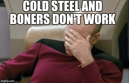 Captain Picard Facepalm Meme | COLD STEEL AND BONERS DON'T WORK | image tagged in memes,captain picard facepalm | made w/ Imgflip meme maker