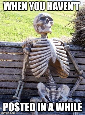 Waiting Skeleton Meme | WHEN YOU HAVEN'T POSTED IN A WHILE | image tagged in memes,waiting skeleton | made w/ Imgflip meme maker