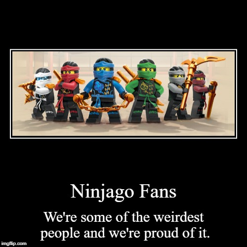 Ninjago Fans | We're some of the weirdest people and we're proud of it. | image tagged in funny,demotivationals | made w/ Imgflip demotivational maker
