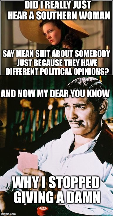 Frankly my dear | DID I REALLY JUST HEAR A SOUTHERN WOMAN SAY MEAN SHIT ABOUT SOMEBODY JUST BECAUSE THEY HAVE DIFFERENT POLITICAL OPINIONS? WHY I STOPPED GIVI | image tagged in politics,mean girls,scarlett o'hara,rhett butler,memes | made w/ Imgflip meme maker