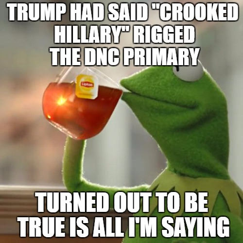 "just saying | TRUMP HAD SAID ""CROOKED HILLARY"" RIGGED THE DNC PRIMARY TURNED OUT TO BE TRUE IS ALL I'M SAYING 