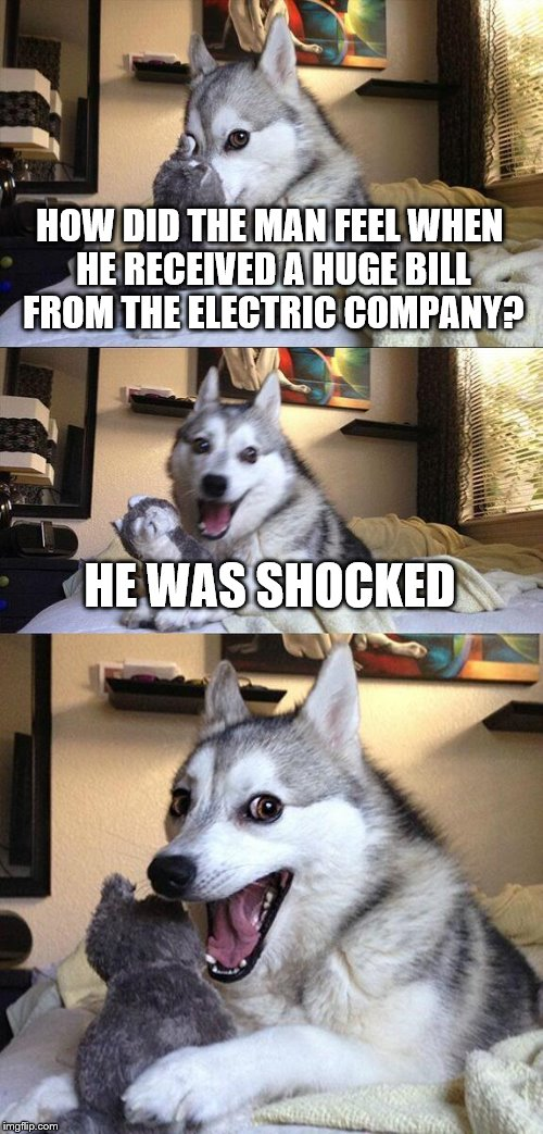 Thanks for the idea, Bob Philips! | HOW DID THE MAN FEEL WHEN HE RECEIVED A HUGE BILL FROM THE ELECTRIC COMPANY? HE WAS SHOCKED | image tagged in memes,bad pun dog | made w/ Imgflip meme maker