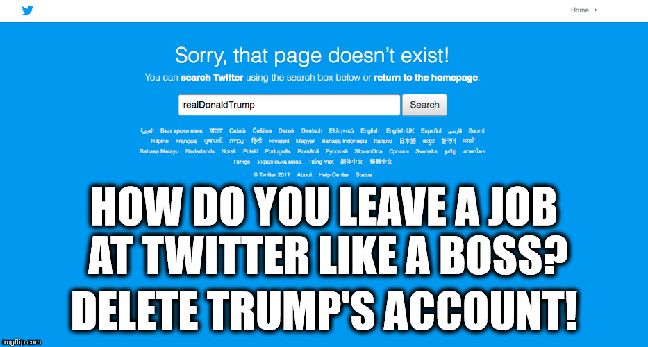 Quitting Twitter like a boss! | HOW DO YOU LEAVE A JOB AT TWITTER LIKE A BOSS? DELETE TRUMP'S ACCOUNT! | image tagged in donald trump,trump tweet,trump twitter,quit,like a boss,memes | made w/ Imgflip meme maker