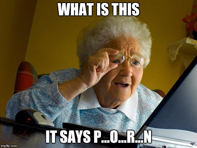 Grandma Finds The Internet Meme | WHAT IS THIS IT SAYS P...O...R...N | image tagged in memes,grandma finds the internet | made w/ Imgflip meme maker