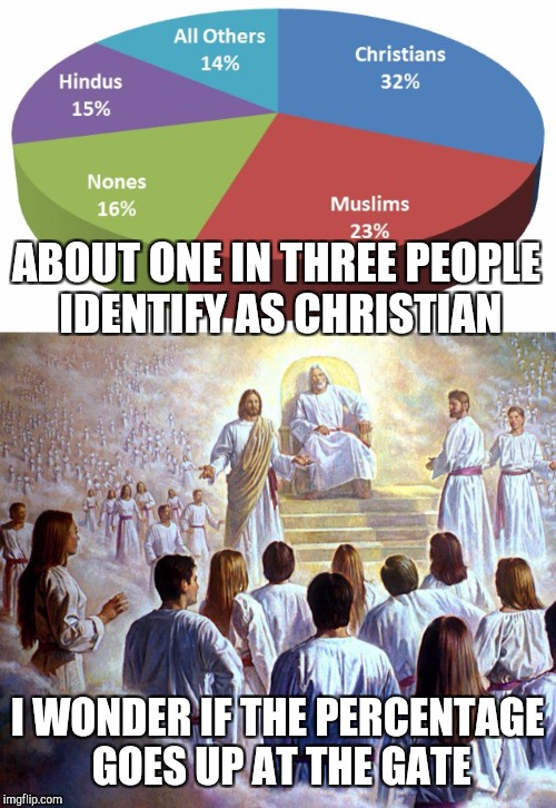 ABOUT ONE IN THREE PEOPLE IDENTIFY AS CHRISTIAN I WONDER IF THE PERCENTAGE GOES UP AT THE GATE | image tagged in christianity,heaven | made w/ Imgflip meme maker