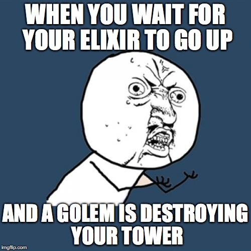 Y U No Meme | WHEN YOU WAIT FOR YOUR ELIXIR TO GO UP AND A GOLEM IS DESTROYING YOUR TOWER | image tagged in memes,y u no | made w/ Imgflip meme maker