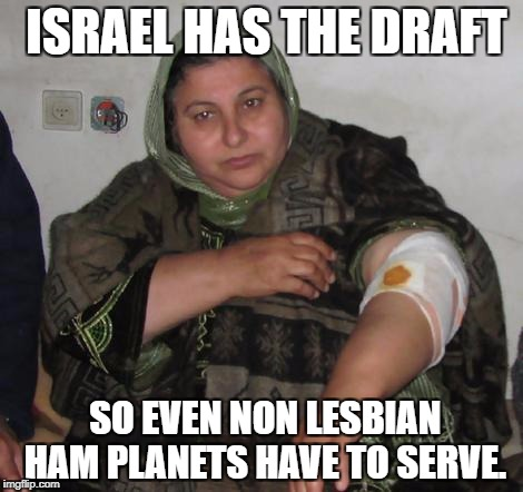 In the army now!! | ISRAEL HAS THE DRAFT SO EVEN NON LESBIAN HAM PLANETS HAVE TO SERVE. | image tagged in gender equality,equality,feminist,antifa,heforshe,emma watson | made w/ Imgflip meme maker