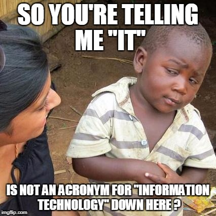 "Third World Skeptical Kid Meme | SO YOU'RE TELLING ME ""IT"" IS NOT AN ACRONYM FOR ""INFORMATION TECHNOLOGY"" DOWN HERE ? 