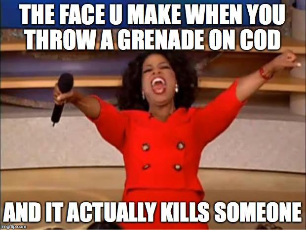Oprah You Get A Meme | THE FACE U MAKE WHEN YOU THROW A GRENADE ON COD AND IT ACTUALLY KILLS SOMEONE | image tagged in memes,oprah you get a | made w/ Imgflip meme maker