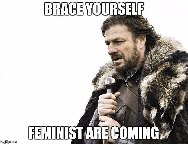Brace Yourselves X is Coming Meme | BRACE YOURSELF FEMINIST ARE COMING | image tagged in memes,brace yourselves x is coming | made w/ Imgflip meme maker