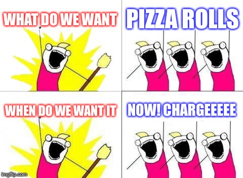 What Do We Want Meme | WHAT DO WE WANT PIZZA ROLLS WHEN DO WE WANT IT NOW! CHARGEEEEE | image tagged in memes,what do we want | made w/ Imgflip meme maker