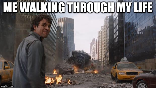 Avengers Bruce Banner Angry Secret | ME WALKING THROUGH MY LIFE | image tagged in avengers bruce banner angry secret | made w/ Imgflip meme maker