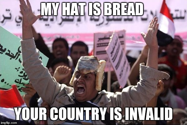 My Hat Is Bread | MY HAT IS BREAD YOUR COUNTRY IS INVALID | image tagged in my hat is bread | made w/ Imgflip meme maker