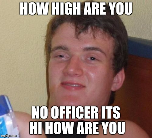10 Guy Meme | HOW HIGH ARE YOU NO OFFICER ITS HI HOW ARE YOU | image tagged in memes,10 guy | made w/ Imgflip meme maker