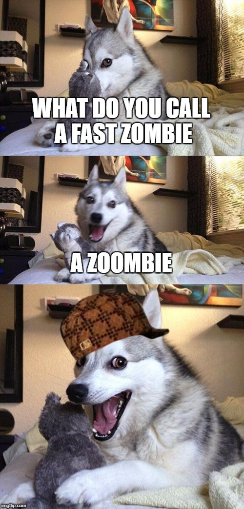 Bad Pun Dog Meme | WHAT DO YOU CALL A FAST ZOMBIE A ZOOMBIE | image tagged in memes,bad pun dog,scumbag | made w/ Imgflip meme maker