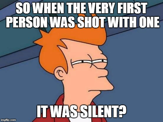 Futurama Fry Meme | SO WHEN THE VERY FIRST PERSON WAS SHOT WITH ONE IT WAS SILENT? | image tagged in memes,futurama fry | made w/ Imgflip meme maker