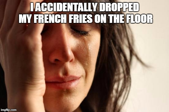 First World Problems Meme | I ACCIDENTALLY DROPPED MY FRENCH FRIES ON THE FLOOR | image tagged in memes,first world problems | made w/ Imgflip meme maker
