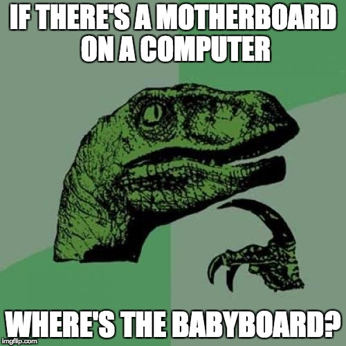 Philosoraptor Meme | IF THERE'S A MOTHERBOARD ON A COMPUTER WHERE'S THE BABYBOARD? | image tagged in memes,philosoraptor | made w/ Imgflip meme maker