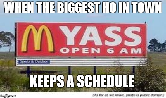 I'm loving it! | WHEN THE BIGGEST HO IN TOWN KEEPS A SCHEDULE | image tagged in mcdonalds | made w/ Imgflip meme maker