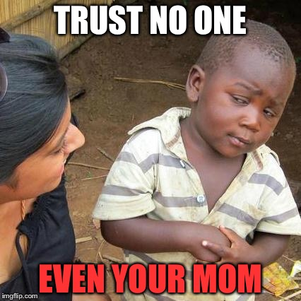 Trust no one boy | TRUST NO ONE EVEN YOUR MOM | image tagged in memes | made w/ Imgflip meme maker