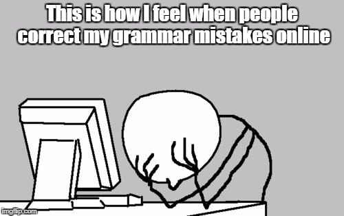 Computer Guy Facepalm Meme | This is how I feel when people correct my grammar mistakes online | image tagged in memes,computer guy facepalm | made w/ Imgflip meme maker