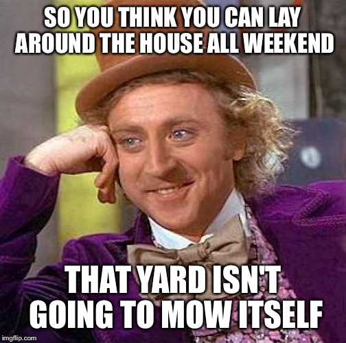 Creepy Condescending Wonka Meme | SO YOU THINK YOU CAN LAY AROUND THE HOUSE ALL WEEKEND THAT YARD ISN'T GOING TO MOW ITSELF | image tagged in memes,creepy condescending wonka | made w/ Imgflip meme maker