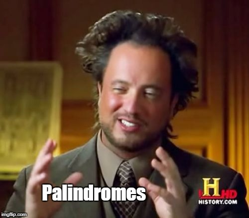 Ancient Aliens Meme | Palindromes | image tagged in memes,ancient aliens | made w/ Imgflip meme maker