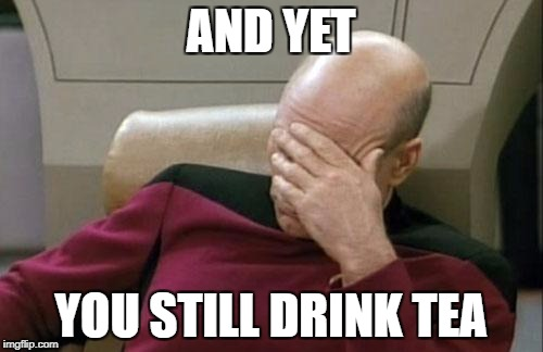 Captain Picard Facepalm Meme | AND YET YOU STILL DRINK TEA | image tagged in memes,captain picard facepalm | made w/ Imgflip meme maker