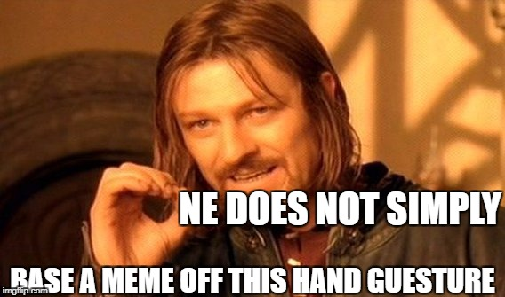 I actually find this annoying | NE DOES NOT SIMPLY BASE A MEME OFF THIS HAND GUESTURE | image tagged in memes,one does not simply,dank memes,funny,hypocritical,bad puns | made w/ Imgflip meme maker