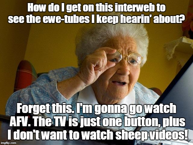 Grandma Finds The Internet Meme | How do I get on this interweb to see the ewe-tubes I keep hearin' about? Forget this. I'm gonna go watch AFV. The TV is just one button, plu | image tagged in memes,grandma finds the internet | made w/ Imgflip meme maker