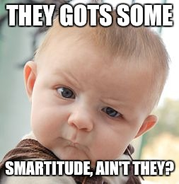 Skeptical Baby Meme | THEY GOTS SOME SMARTITUDE, AIN'T THEY? | image tagged in memes,skeptical baby | made w/ Imgflip meme maker