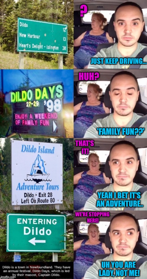 You Never Know What Can Happen As An Uber Driver | HUH? ? 'FAMILY FUN??' JUST KEEP DRIVING... THAT'S IT! WE'RE STOPPING HERE! UH YOU ARE LADY, NOT ME! YEAH I BET IT'S AN ADVENTURE.. | image tagged in uber,driving,taxi,funny signs,funny sign,canadian | made w/ Imgflip meme maker