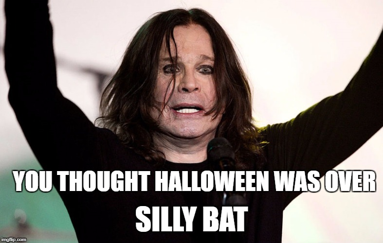 YOU THOUGHT HALLOWEEN WAS OVER SILLY BAT | image tagged in ozzy osbourne,halloween,bats | made w/ Imgflip meme maker
