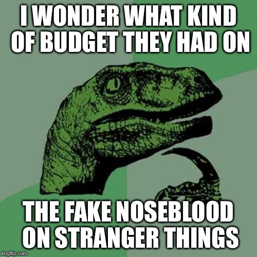 Philosoraptor Meme | I WONDER WHAT KIND OF BUDGET THEY HAD ON THE FAKE NOSEBLOOD ON STRANGER THINGS | image tagged in memes,philosoraptor | made w/ Imgflip meme maker