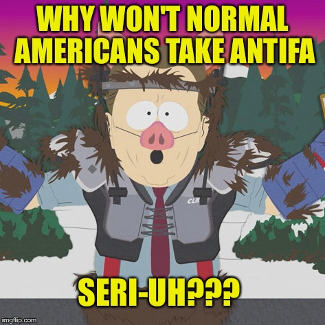 WHY WON'T NORMAL AMERICANS TAKE ANTIFA SERI-UH??? | image tagged in al gore manbearpig south park | made w/ Imgflip meme maker