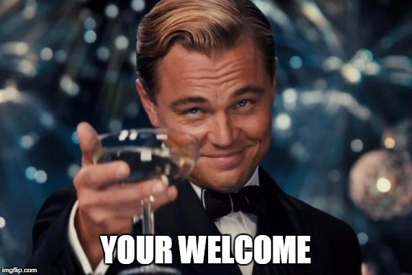 Leonardo Dicaprio Cheers Meme | YOUR WELCOME | image tagged in memes,leonardo dicaprio cheers | made w/ Imgflip meme maker